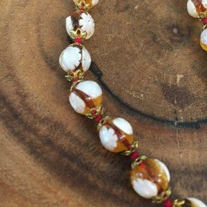 Amber & Coral Beaded Necklace